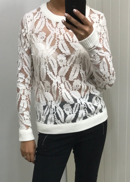 Cream Lace Long Sleeve Sheer Sweater Top by ICHI - SWALK Fashion