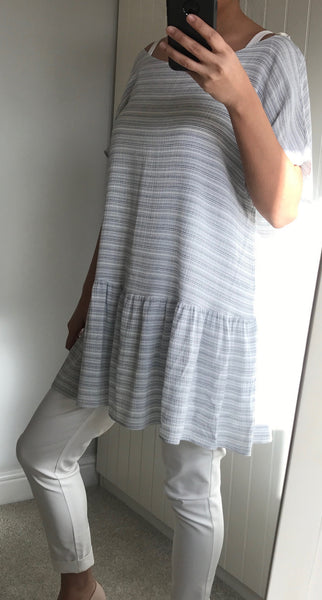 Blue & White Fine Stripe Oversize Tunic/Dress with Frill Hem by MOUTAKI - SWALK Fashion