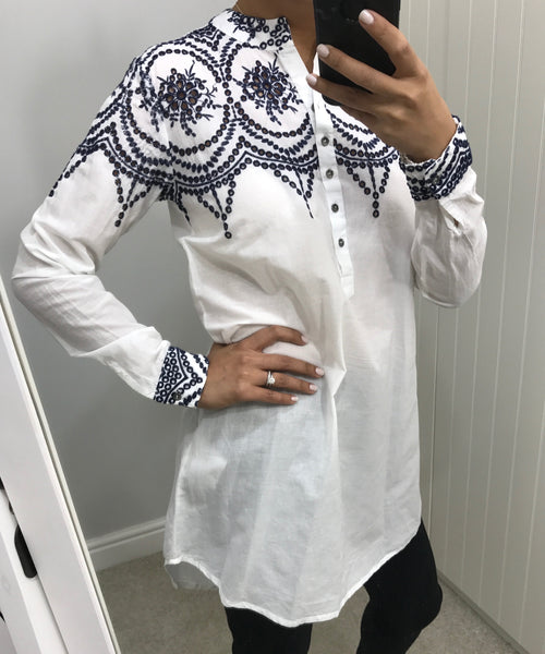 Blue Embroidered Detail White Shirt by NU DENMARK - SWALK Fashion