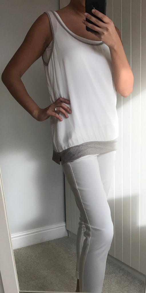 Sheer White With Grey Trim Vest Top by MOUTAKI
