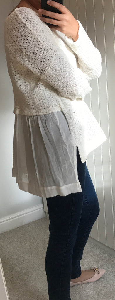 Cream Pullover with Sheer Frill and Dipped Hem Back Detail by MOUTAKI - SWALK Fashion
