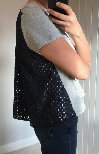 Grey & Navy Mesh Back Detail Genoa Top by CUBIC - SWALK Fashion