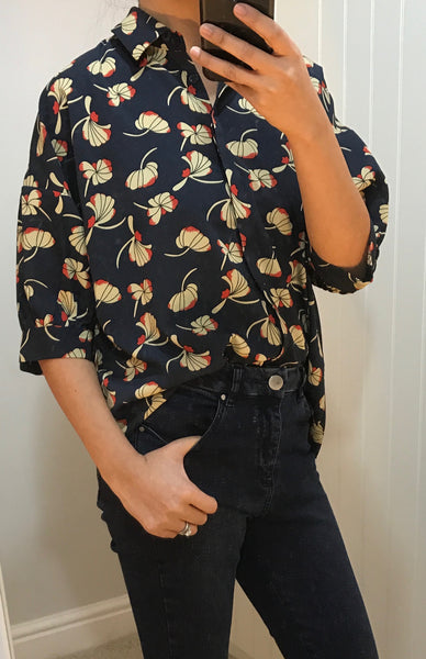 Navy Blue & Floral Pattern Shirt by ANONYME - SWALK Fashion