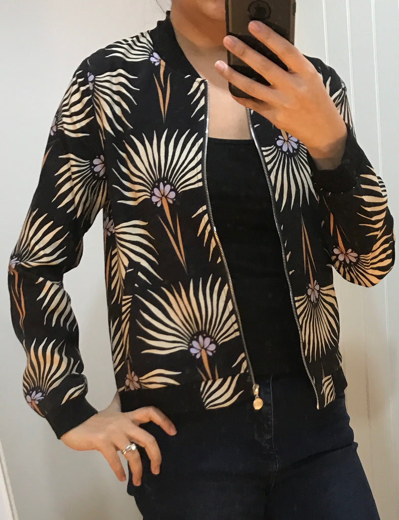 Black & Floral Pattern Bomber Jacket by ANONYME - SWALK Fashion