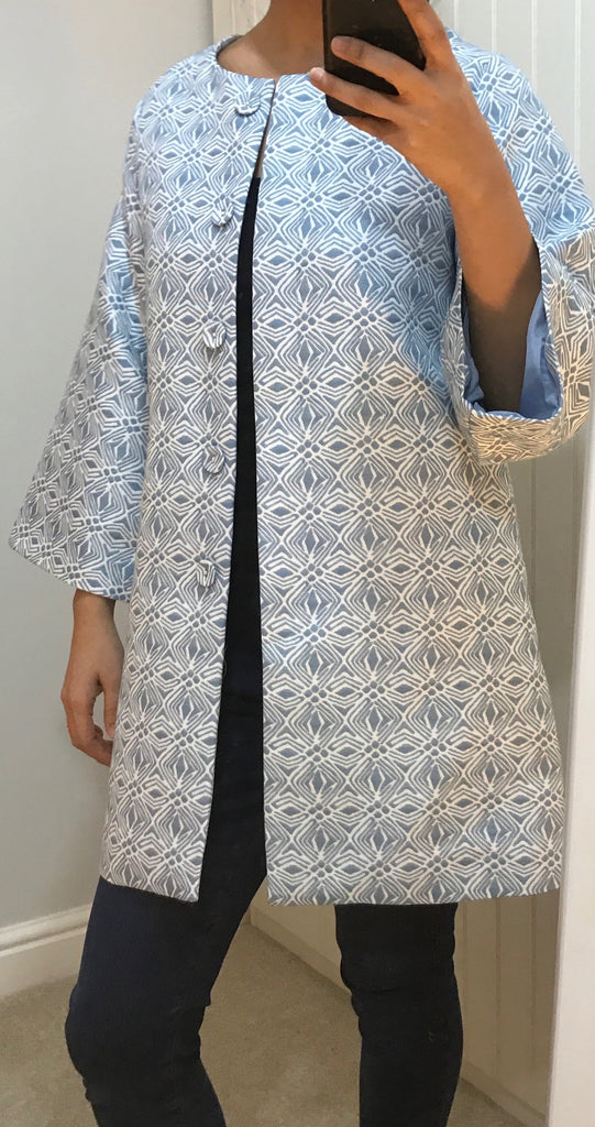 White & Light Blue Pattern Mid-Length Coat by ANONYME