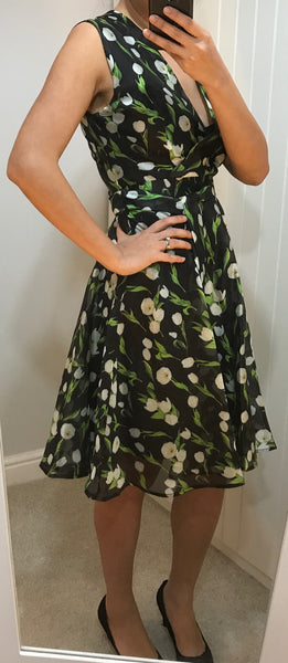 Black with White & Green Floral Print Dress by ANONYME - SWALK Fashion