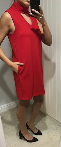 Red Fitted Dress with Choker Detail by SILVIAN HEACH