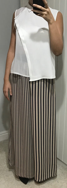 Gulbarga Navy & Beige Stripe Wide Leg Palazzo Trousers by SILVIAN HEACH - SWALK Fashion