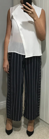 Navy and White Striped Cropped Wide Leg Trousers by Silvian Heach - SWALK Fashion