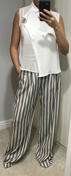 High Waist Striped Trousers by Moutaki - SWALK Fashion