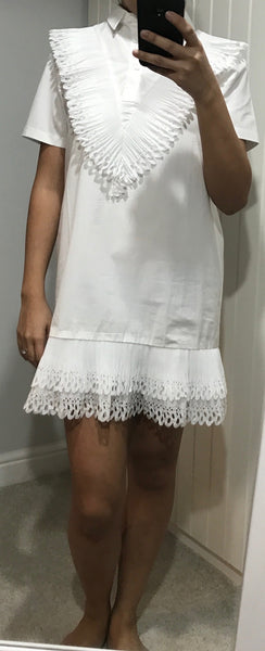 White Bastia Front and Hem Ruffle Dress by CUBIC