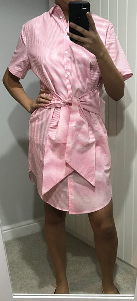 Short Sleeved Pink & White Stripe Laia Dress by CUBIC