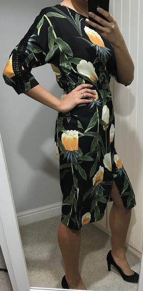 3/4 Sleeve Black and Green Floral Dress with Front Split by SILVIAN HEACH - SWALK Fashion