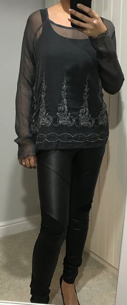 Grey & Silver Embroidered Sheer Top by NU DENMARK - SWALK Fashion