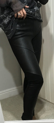 Black Leather Effect Leggings by NU DENMARK - SWALK Fashion