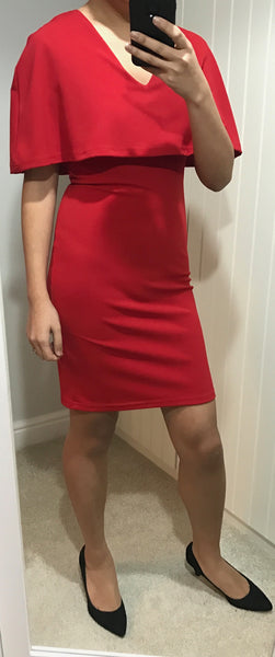 Red Cape Style Fitted Dress by SILVIAN HEACH