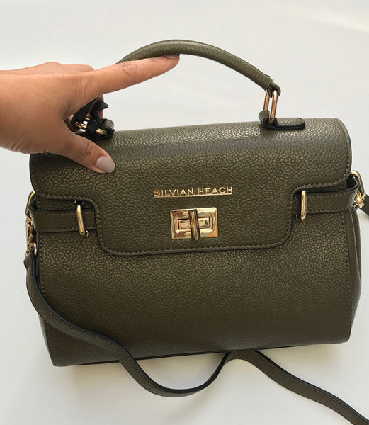 Military Green Leather Effect Handbag with Gold Detail by SILVIAN HEACH - SWALK Fashion