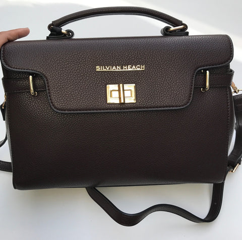 Chocolate Brown Leather Effect Handbag with Gold Detail by SILVIAN HEACH - SWALK Fashion