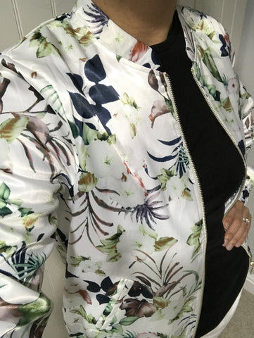 Floral Satin Bomber Jacket by ICHI - SWALK Fashion