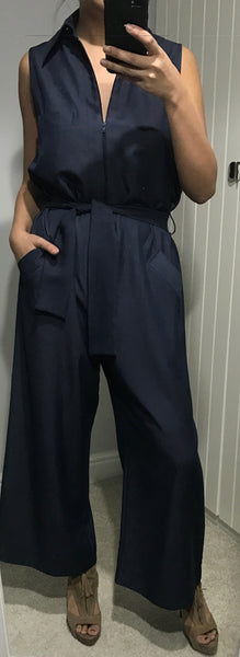 Blue Zip Jumpsuit with Self Tie Belt by MOUTAKI - SWALK Fashion