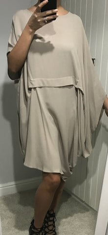 Beige Asymmetric Grecian Drape Dress by MOUTAKI - SWALK Fashion
