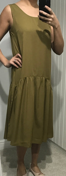 Sleeveless Khaki Green Dress with Pleated Skirt Detail by ICHI