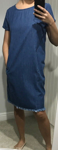 Denim Dress with Pockets by ICHI - SWALK Fashion