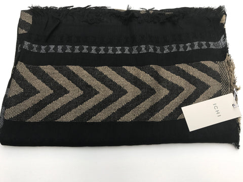 Black with Grey & Sand Patterned Mica Scarf By ICHI - SWALK Fashion