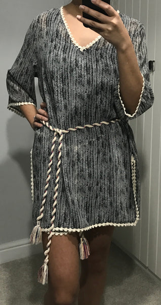 Oversized Patterned Tunic with Rope Belt by MOUTAKI - SWALK Fashion
