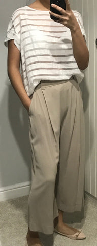 Wide Leg Calf Length Trousers by MOUTAKI