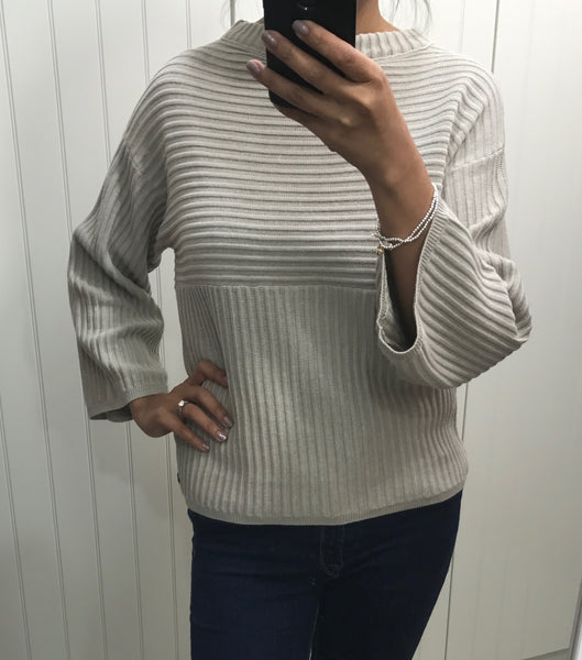 Light Grey Ribbed Devan Pullover by NUMPH - SWALK Fashion