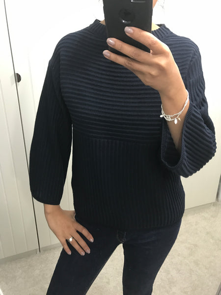 Navy Ribbed Devan Pullover by NUMPH - SWALK Fashion