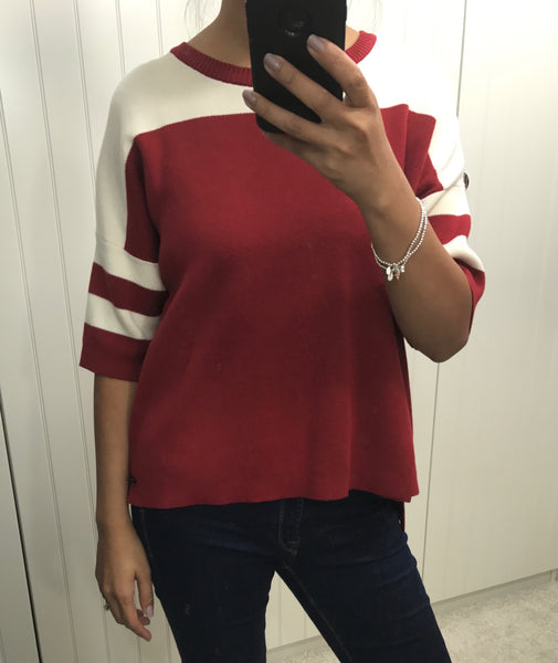 Red & White Jenette 3/4 Sleeve Pullover by NUMPH - SWALK Fashion