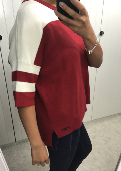 Red & White Jenette 3/4 Sleeve Pullover by NUMPH