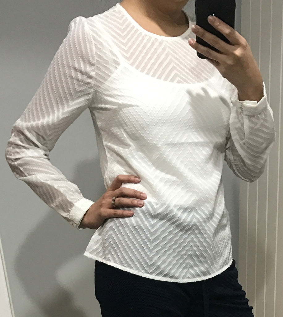 Sheer White Zig Zag Blouse by BELLFIELD