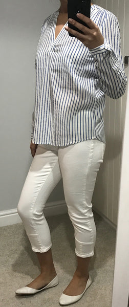 Blue & White Striped V Neck Cotton Shirt by ICHI - SWALK Fashion