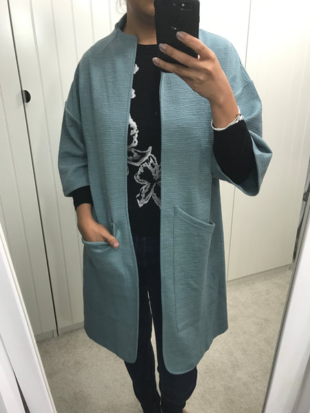 Light Teal 3/4 Sleeve Breadnut Coat by NUMPH - SWALK Fashion