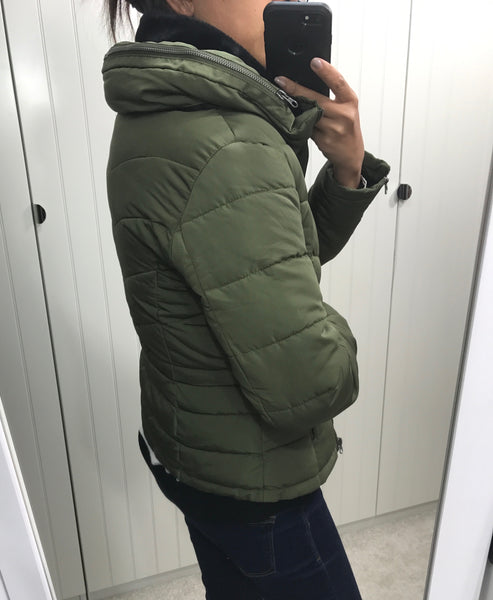 Khaki Waterproof Bomber Jacket with Hidden Hood by ICHI - SWALK Fashion