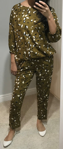Khaki Green Patterned Trousers by ICHI - SWALK Fashion