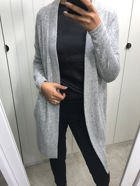 Super Soft Light Grey Long Cardigan by SOYACONCEPT