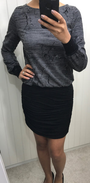 Long Sleeve Grey Pattern Dress with Black Ruched Skirt by SMASH - SWALK Fashion
