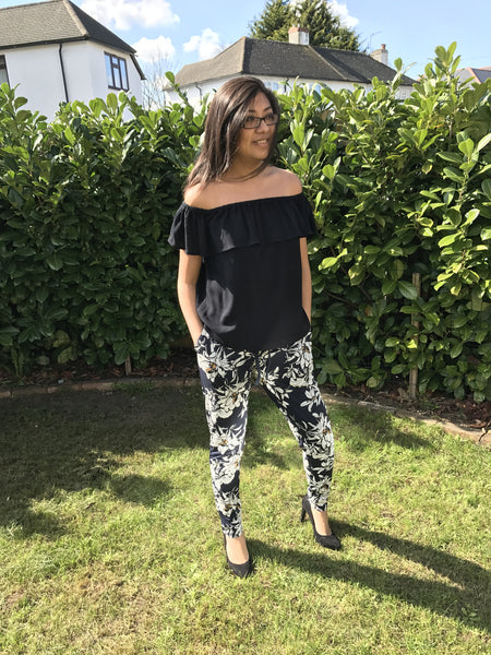 Black Marrakech Off The Shoulder Ruffle Top by ICHI - SWALK Fashion