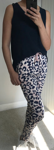 Pink & Navy Animal Print Casual Lisa Trousers by ICHI - SWALK Fashion
