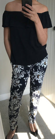 Navy Floral Print Casual Lisa Trousers by ICHI - SWALK Fashion