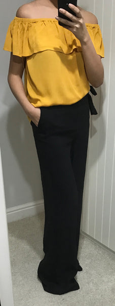 Black Wide Leg Trousers with Tie Detail Waist by SILVIAN HEACH - SWALK Fashion