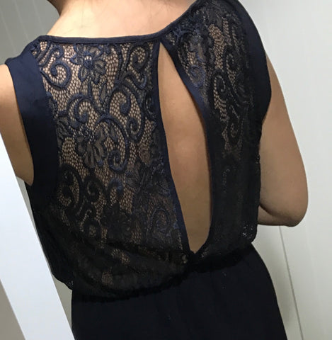 Navy Bazto Dress with Lace Back Detail by ICHI - SWALK Fashion