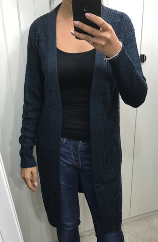 Dark Blue Olinda Knit Cardigan by ICHI - SWALK Fashion