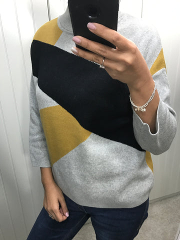 100% Organic Cotton Agnes Abstract Grey, Black & Mustard Jumper by ARMEDANGELS - SWALK Fashion