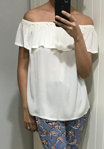 Cream Marrakech Off The Shoulder Ruffle Top by ICHI - SWALK Fashion