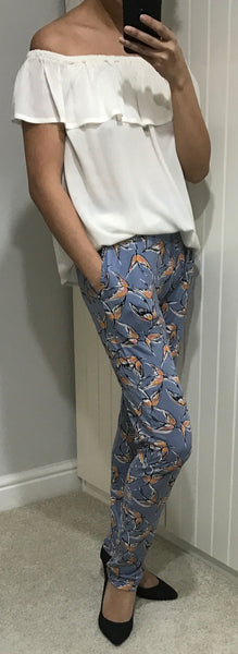 Blue with Pink Bird Print Casual Lisa Trousers by ICHI - SWALK Fashion